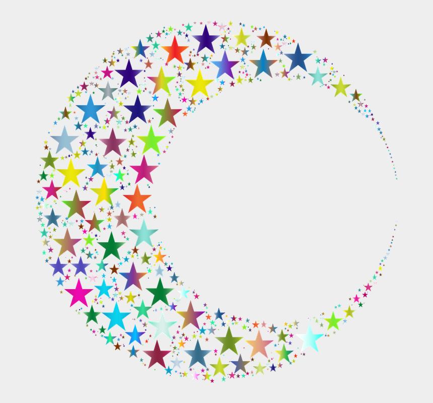 crescent moon and stars clipart, Cartoons - Crescent Moon Lunar Stars Abstract Geometric Art - Portable Network Graphics