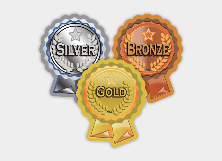 souvenir clipart, Cartoons - Silver Clipart Rosette - Bronze Silver Gold Badges