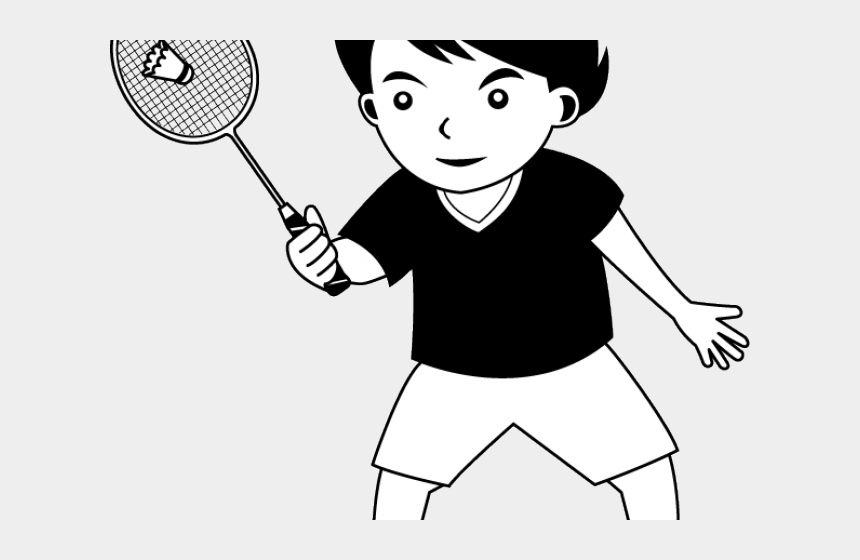 tennis player clipart black and white, Cartoons - Badminton Clipart Black And White - Play Badminton Clipart Black And White