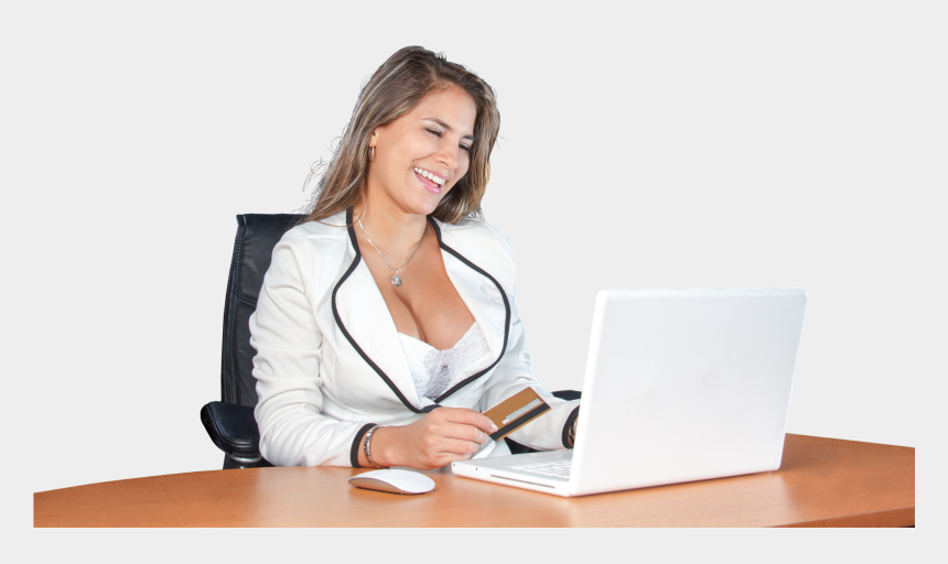 girl on laptop clipart, Cartoons - Woman On Laptop - Business Person Using Computer