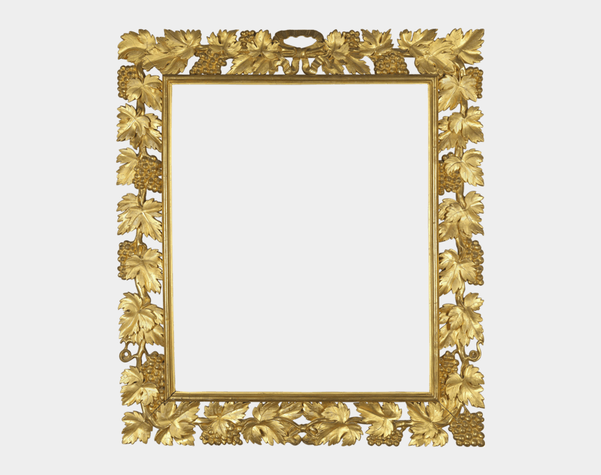 gold picture frame clipart, Cartoons - Download Gold Frame With Vine Transparent Png - Square Gold Borders Png
