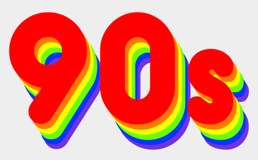 90's clipart, Cartoons - #90s #90 #number #oldschool #old #colors #rainbow #cool - 90's Transparent