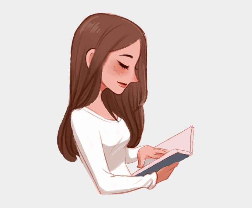 little girl reading a book clipart, Cartoons - Girl Book Female - Girl Reading Book Png