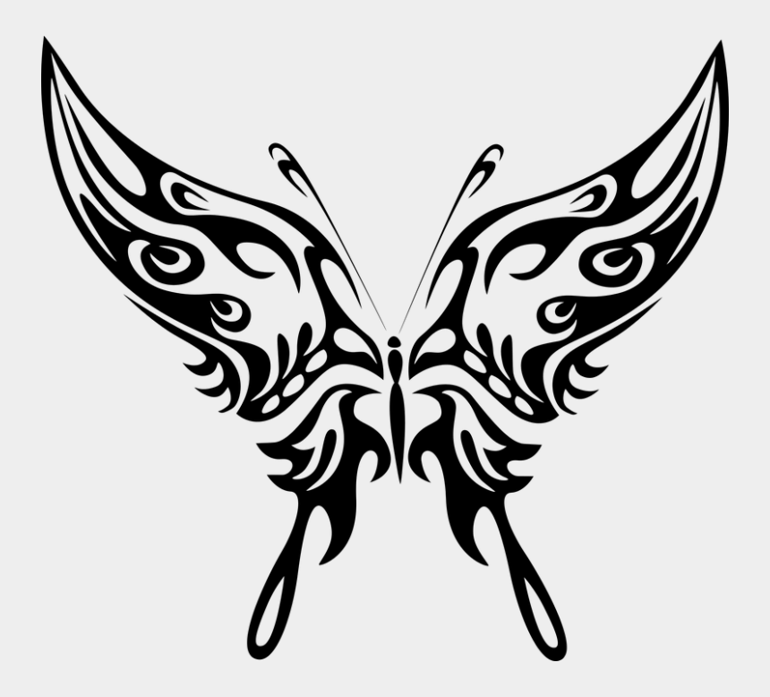 tribal wing clipart, Cartoons - Insect Clipart Tribal - Tribal Butterfly Silhouette Png