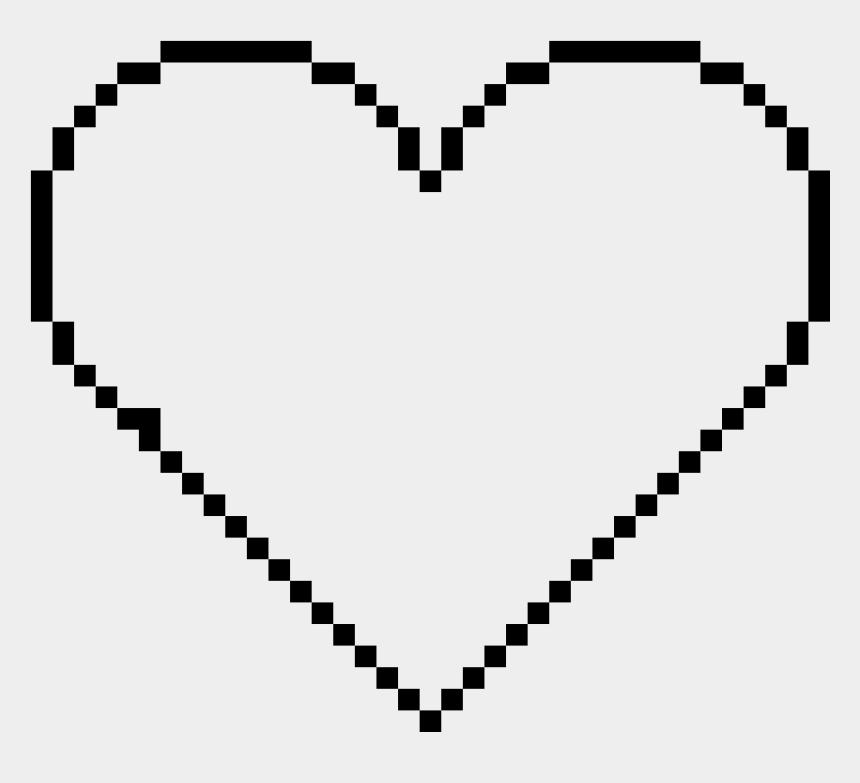 black heart outline clipart, Cartoons - Pixel Heart Outline - Pixel Art Head Base