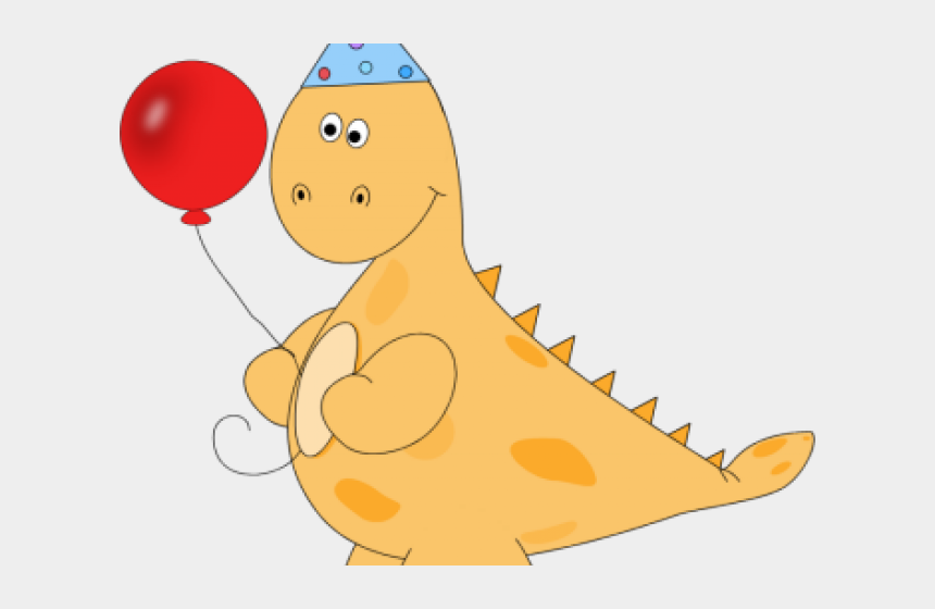 party cliparts, Cartoons - Toddler Party Cliparts - Dinosaur With Birthday Hat Clipart