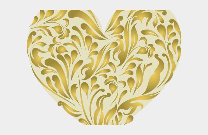 gold swirl clipart, Cartoons - Swirls Clipart Glitter - Transparent Background Golden Heart