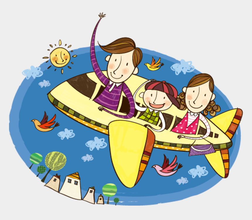 family on vacation clipart, Cartoons - Airplane Travel Illustration Fly Home Transprent Ⓒ - Voyage En Famille Avion