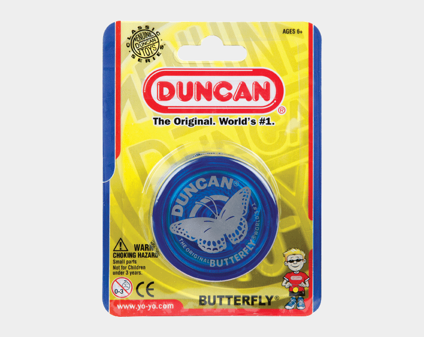 butterfly clips 90s, Cartoons - A Blue Duncan Butterfly Yo-yo Inside Packaging - Blue Duncan Butterfly Yoyo