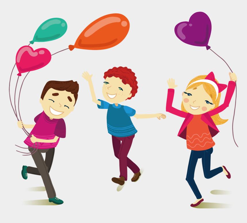 friendship clipart, Cartoons - Cartoon Illustration Friends Playing With Outdoors - Brincando Com Balões