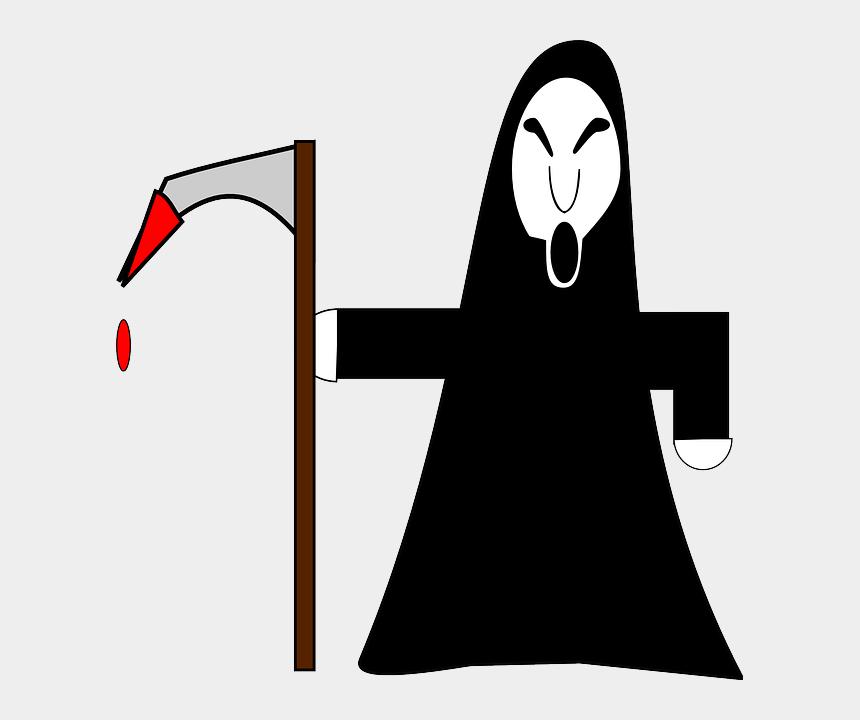 death clipart, Cartoons - Halloween Reaper, Grim, Scythe, Hooded, Skull, Death, - Vector Grim Reaper