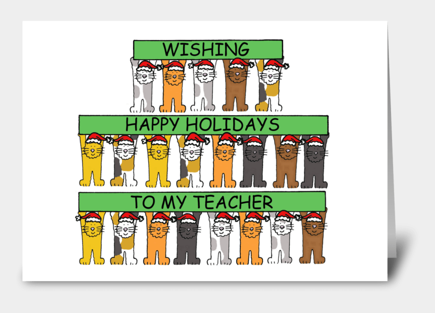 happy holidays clipart banner, Cartoons - Happy Holidays To Teacher Cartoon Cats - Birthdays On Christmas Day Cards