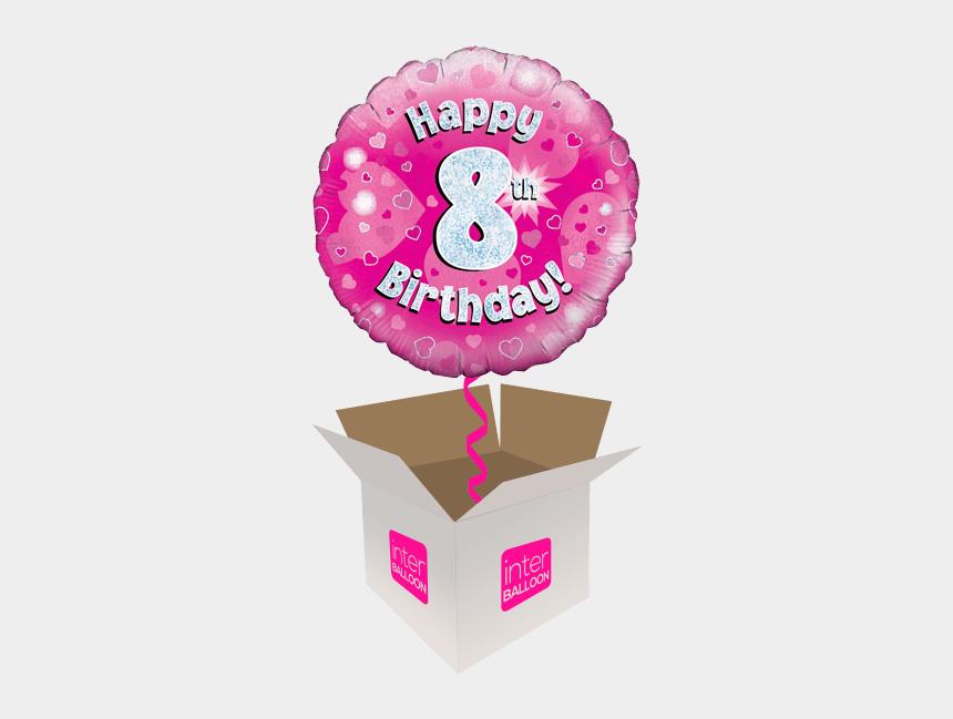happy 8th birthday clipart, Cartoons - Happy 8th Birthday Pink Holograpic - Happy 5th Birthday Balloon