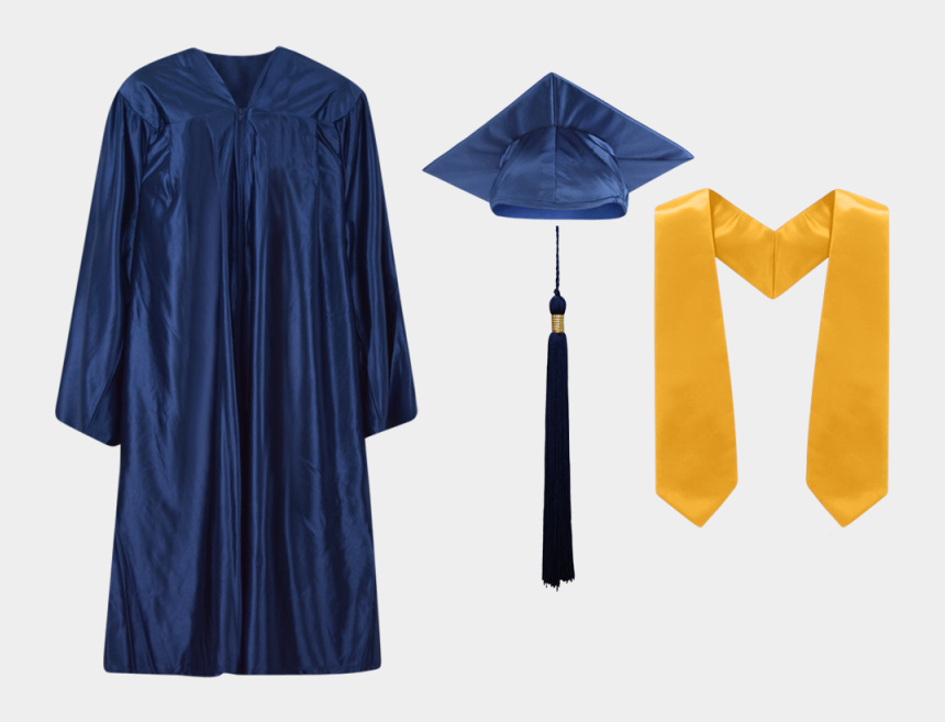 graduation cap and diploma clipart black and white, Cartoons - Navy Blue - Graduation Gown Stole