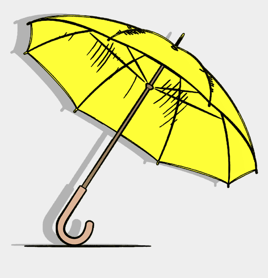yellow umbrella clipart, Cartoons - Umbrella Sunny Rain Free Picture - Rain Sticker Png