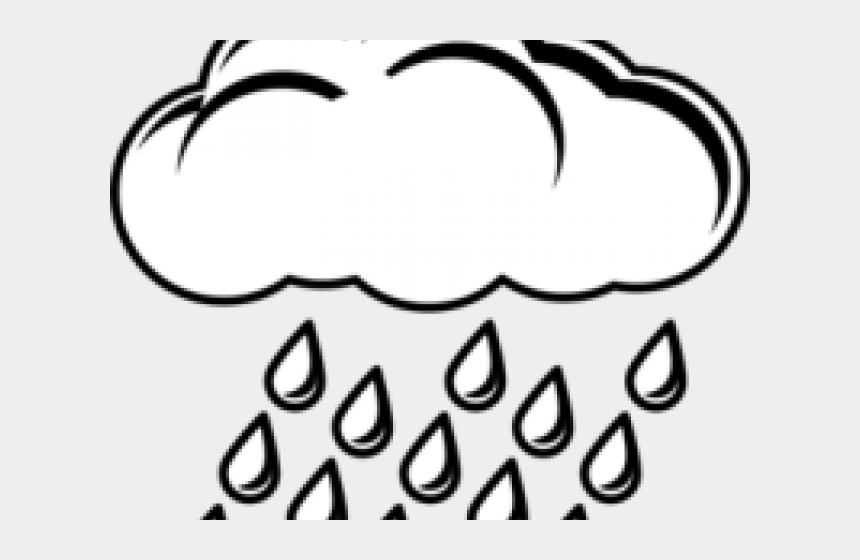 sun and clouds clipart black and white, Cartoons - Raining Clipart Black And White