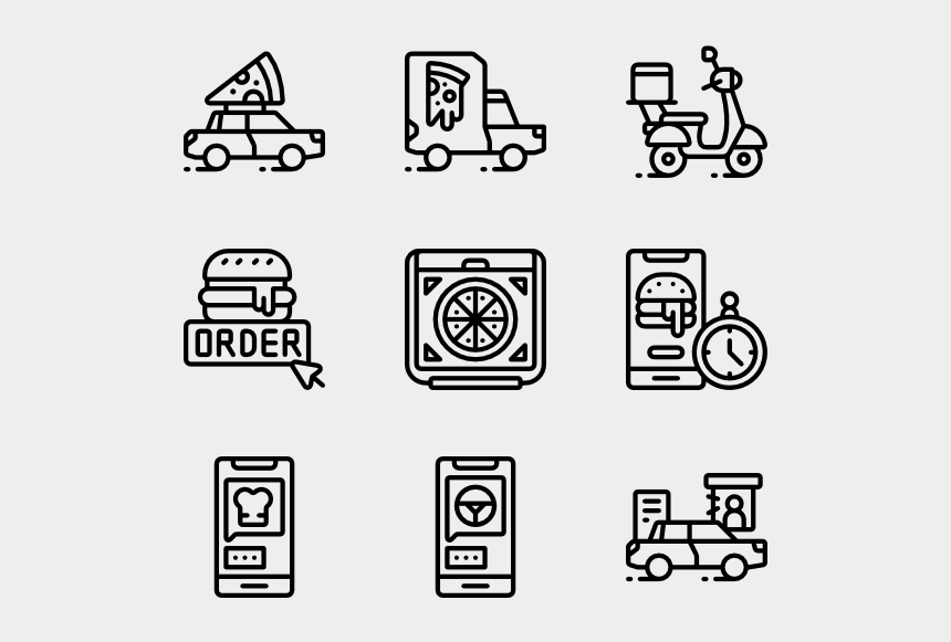 delivery truck clipart black and white, Cartoons - Vector Truck - Living Room Icon