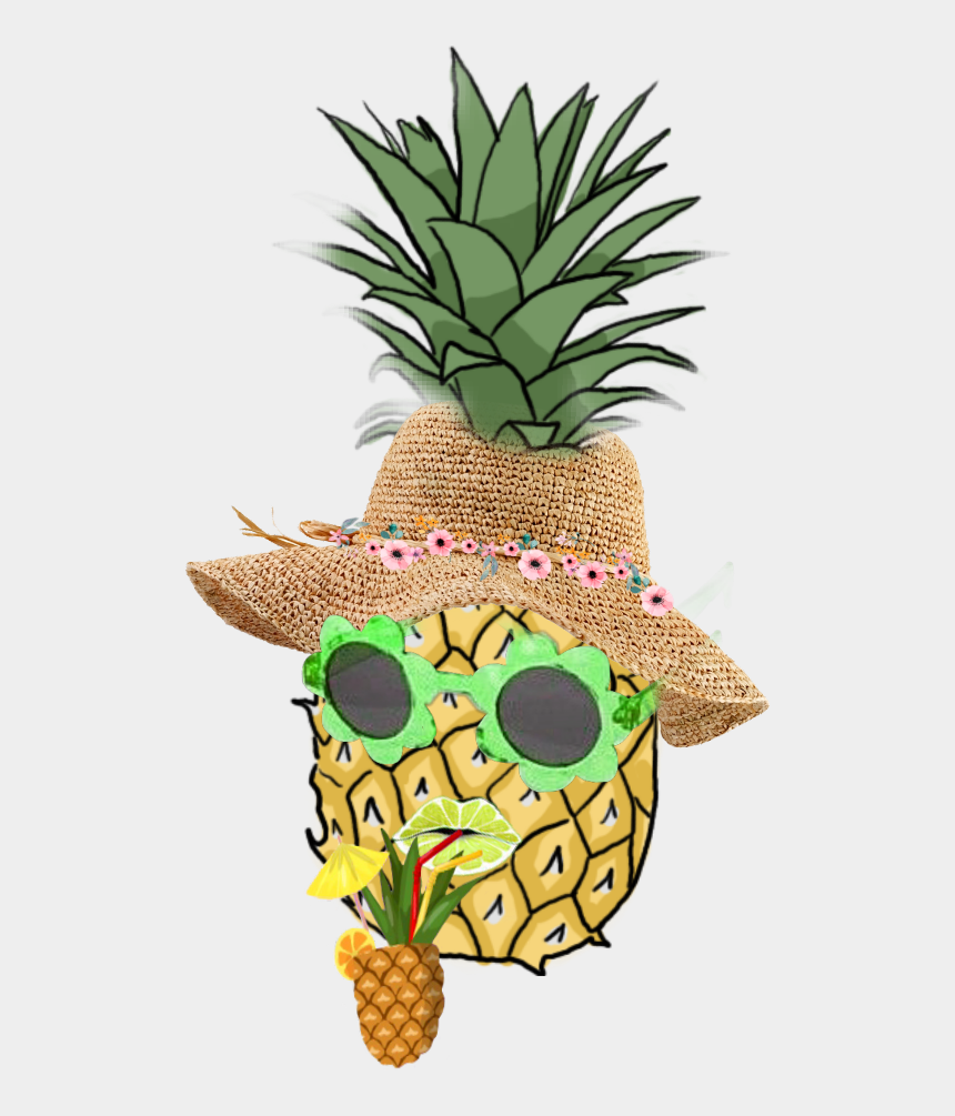 fruit hat clipart, Cartoons - #annanas #glasses #hat #mouth #drink#summer #picsart - Pineapple Drawing