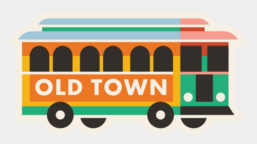 old town clipart, Cartoons - Wichita, Kansas Old Town Trolley Sticker Design - School Bus