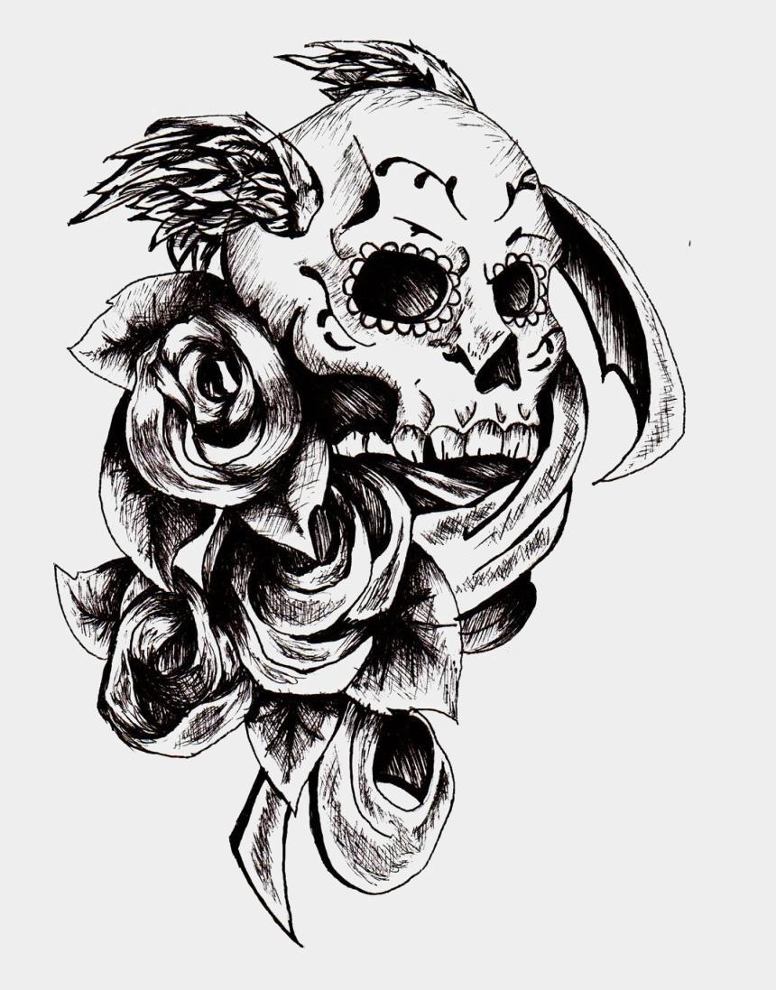 skull tattoo clipart, Cartoons - Skull Tattoo Png - Tattoo Design Templates