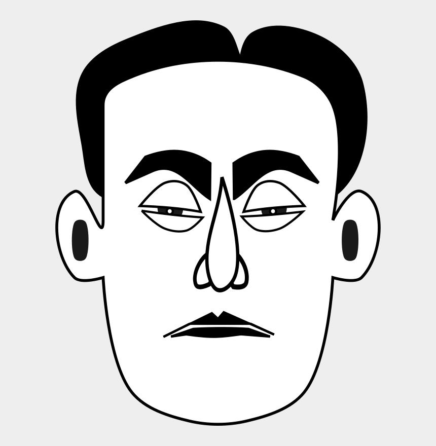 human face clipart, Cartoons - Man - Black And White Clip Art Sad