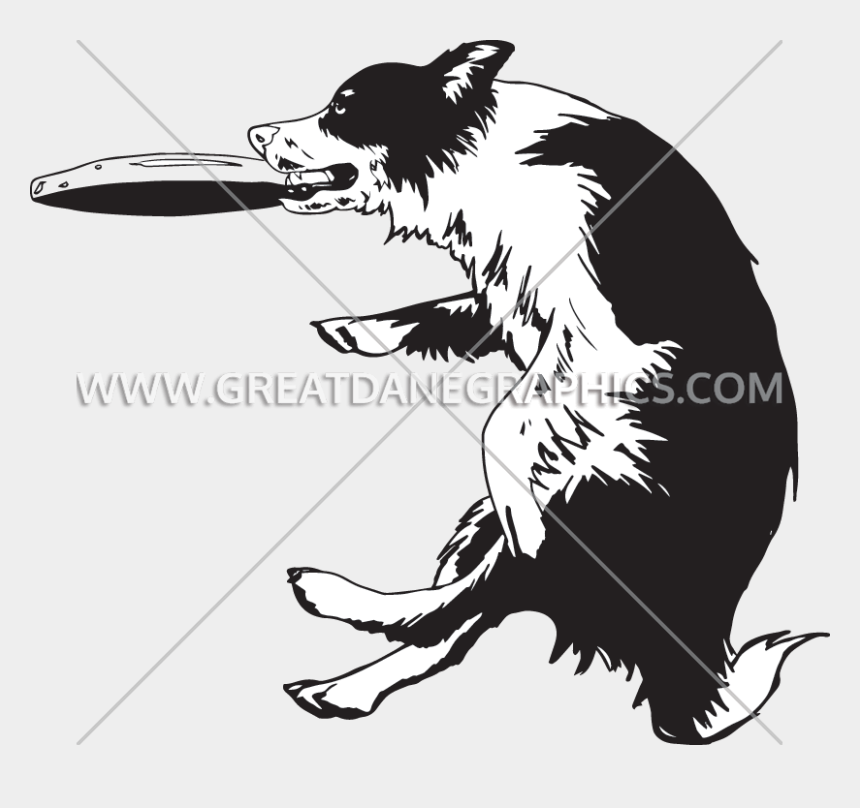 dogs playing clipart, Cartoons - Frisbee Vector Dog - Border Collie Frisbee Silhouette