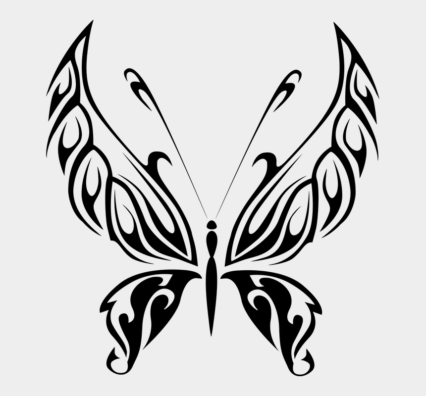 butterfly flying clipart black and white, Cartoons - Abstract Animal Black Butterfly Fly Insect - Butterfly Line Art Png
