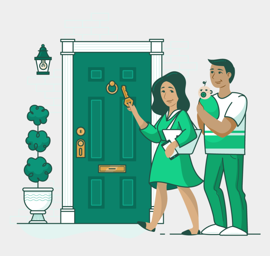 walking out the door clipart, Cartoons - Woman With A Key In Her Hand And A Man Holding A Baby - Cartoon