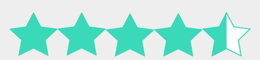 rating clipart, Cartoons - Turquoise Clipart Half Star - 4 1 2 Stars