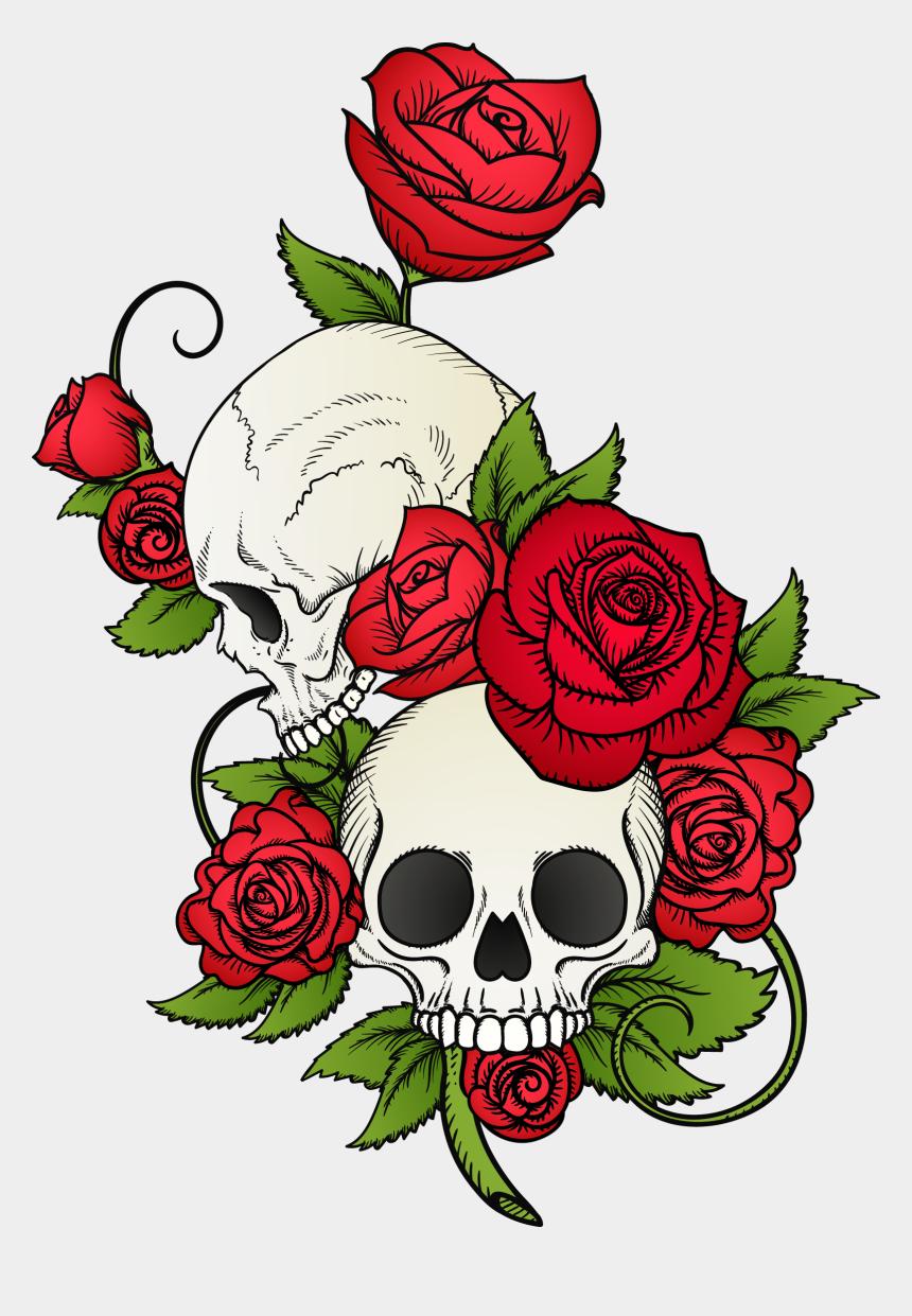 skeleton hand clipart, Cartoons - And Skull Painted Calavera Hand T-shirt Vector Clipart - Skull Roses
