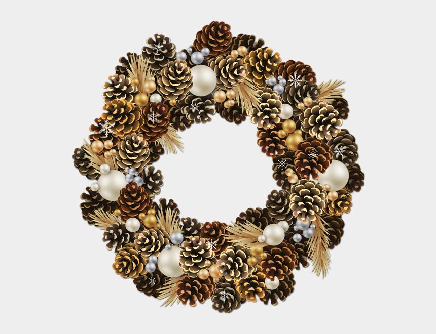 pine cone clip art, Cartoons - Pine Cone Clipart Pine Garland - Transparent Christmas Wreath Png Free
