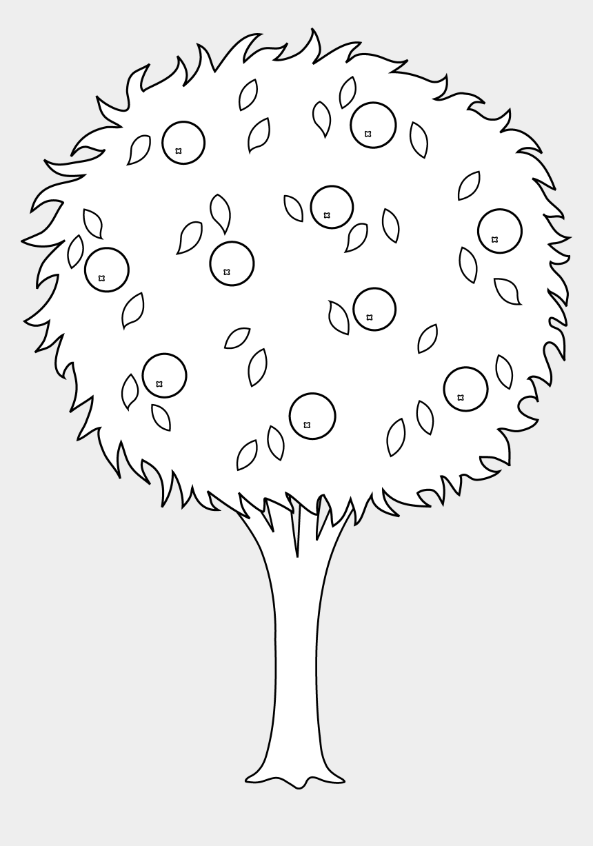apple clipart black and white, Cartoons - Bark Drawing Swirly Tree - Apple Tree Drawing Png