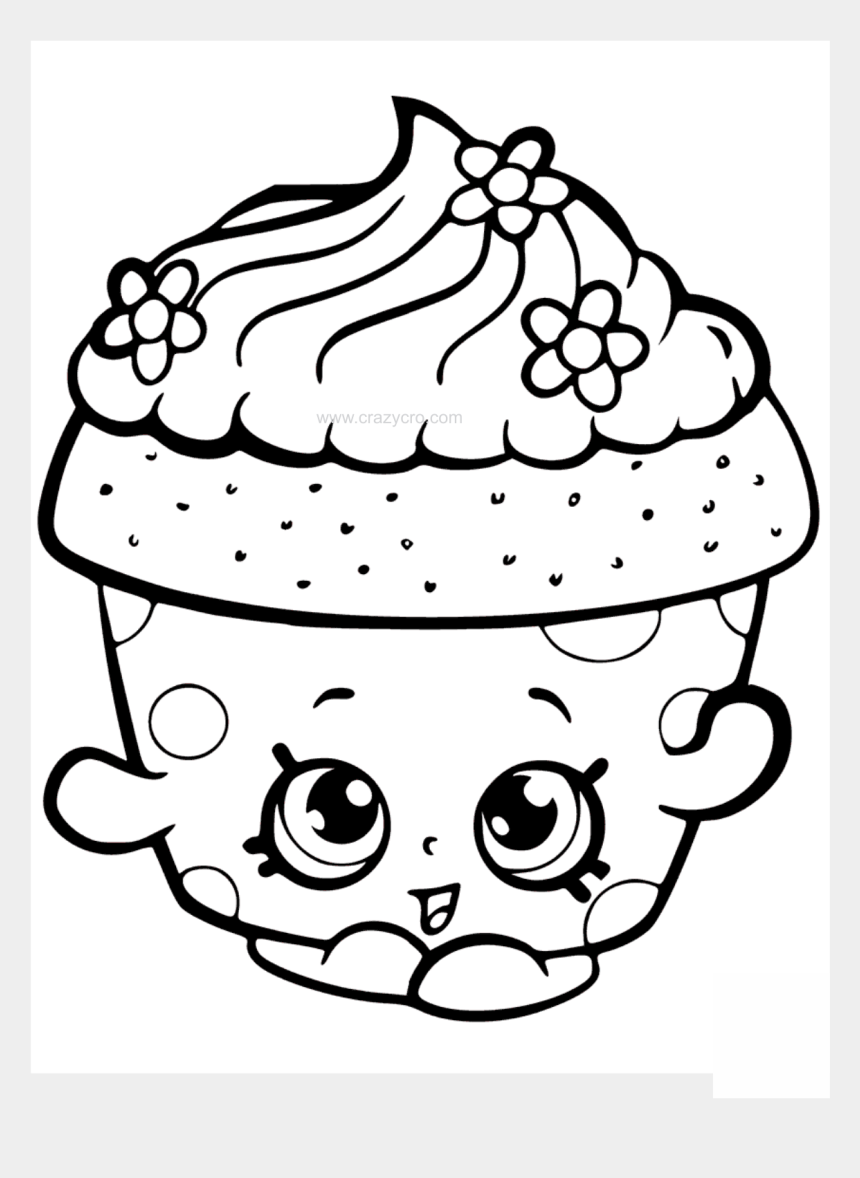shopkins clipart, Cartoons - Shopkin Drawing Black And White Transparent Png Clipart - Cute Cupcake Coloring Pages