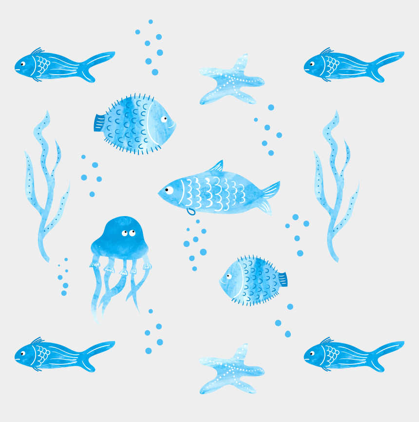 fish clipart black and white, Cartoons - Png Black And White Stock Loose Painting Fish Illustration - Fish Watercolor Png