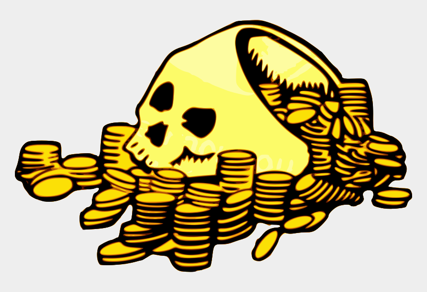 pirate clip art, Cartoons - Golden Skull With Coins - Pirate Treasure Clipart
