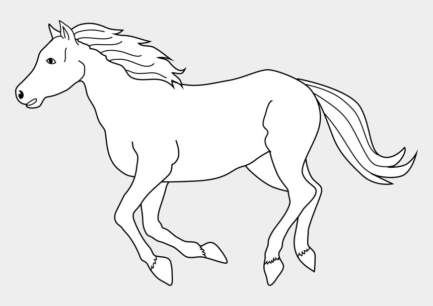 horse clipart black and white, Cartoons - Galloping Horse Coloring Page - White Horse Clipart Png