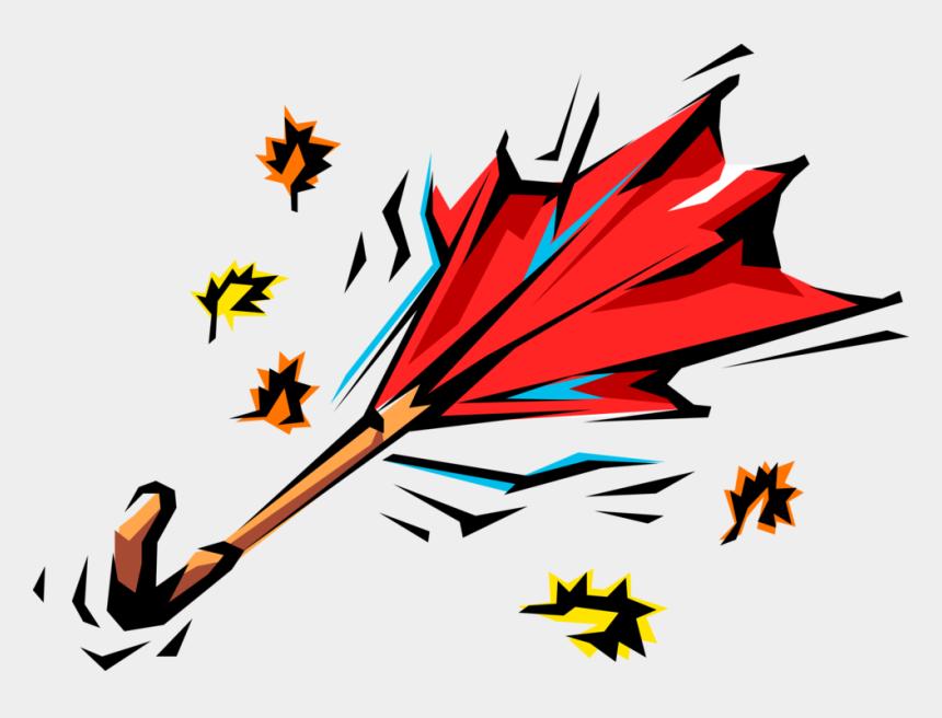 leaves blowing in the wind clipart, Cartoons - Vector Illustration Of Wind Swept Umbrella Or Parasol - Vent De Tempête Gif