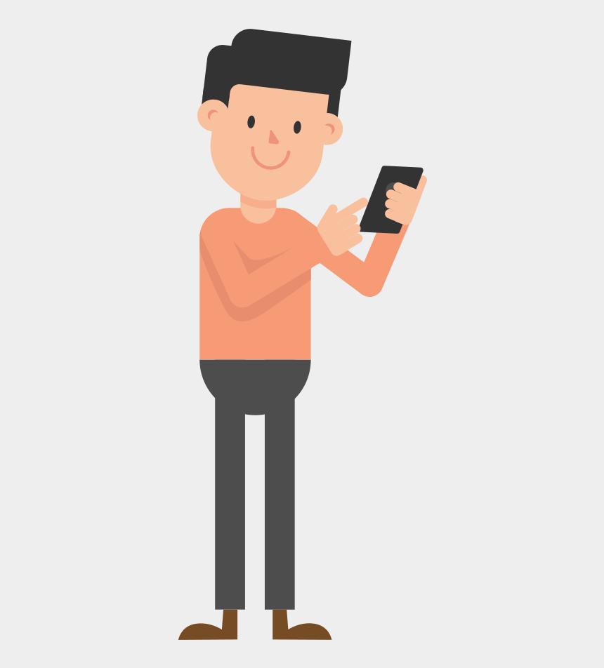 person drinking coffee clipart, Cartoons - Fileman Looking - Man Using Phone Cartoon