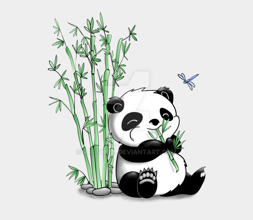 animal eating clipart, Cartoons - Panda Eating Cliparts - Panda Bear Eating Bamboo Drawing
