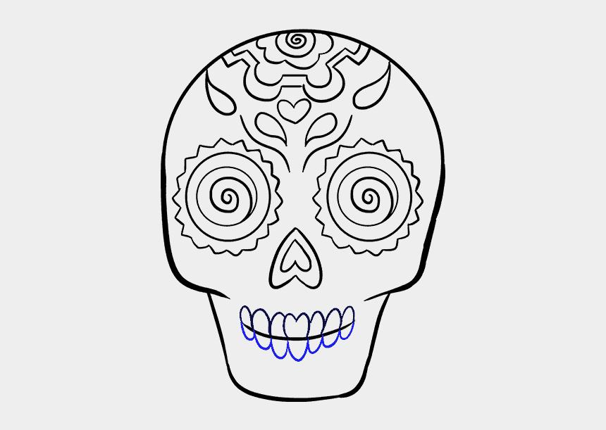 side skull clipart, Cartoons - Drawn Sugar Skull Human - Dia De Los Muertos Drawings Sugar Skull