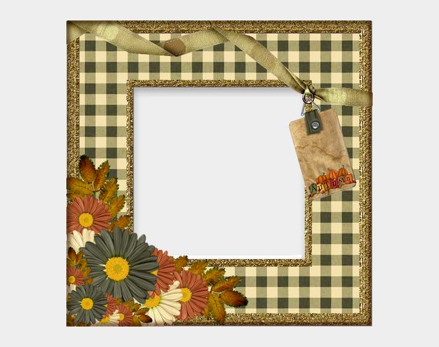 autumn frame clipart, Cartoons - Transparent Autumn With Flowers Photo Frame - Transparent Autumn Photo Frames