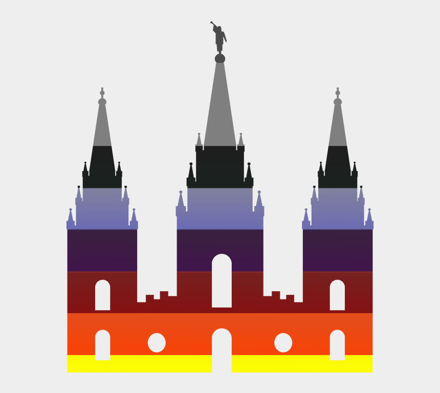 salt lake city temple clipart, Cartoons - Salt Lake City Temple, Dressed In Rainbow Pride Colors - Salt Lake Temple Silhouette