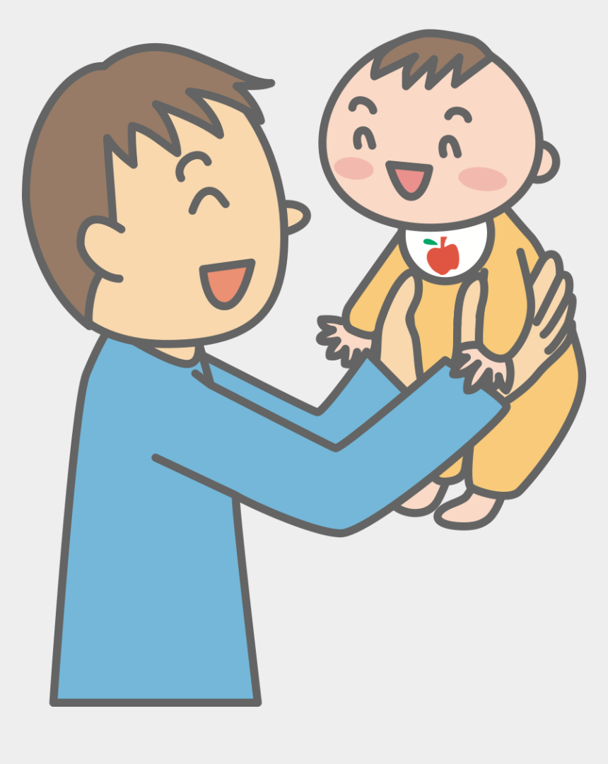 number 1 finger clipart, Cartoons - Father With Baby - パパ 赤ちゃん イラスト