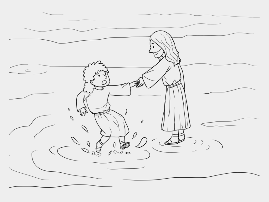 jesus walks on water clipart, Cartoons - Human Water Drawing Finger Walking - Mewarnai Gambar Tuhan Berjalan Di Atas Air