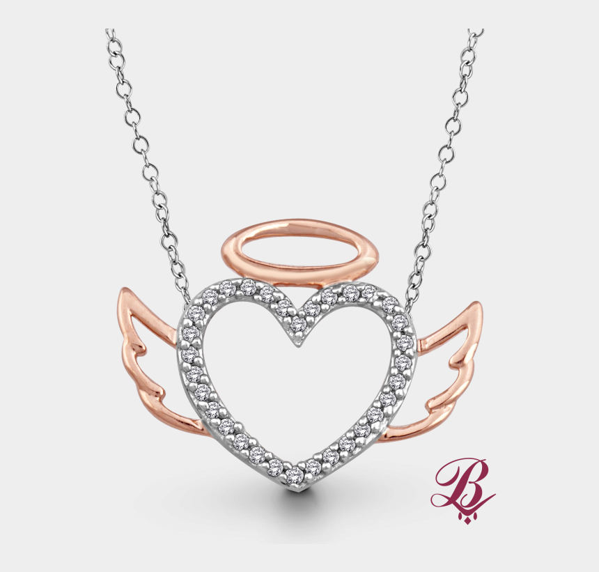 winged heart clipart, Cartoons - Angel Halo Png - Cz Bezel Bar Necklace