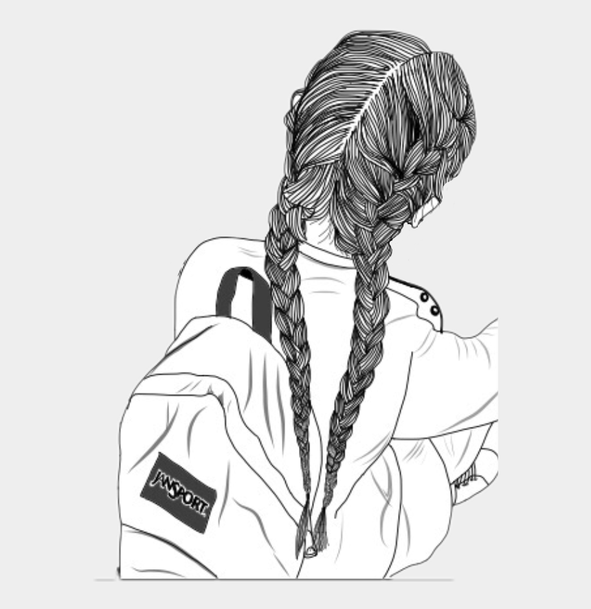 girl with backpack clipart, Cartoons - #outlines #girl #outlinesgirl #backpack #bored #interesting - Girl Drawing With Braids