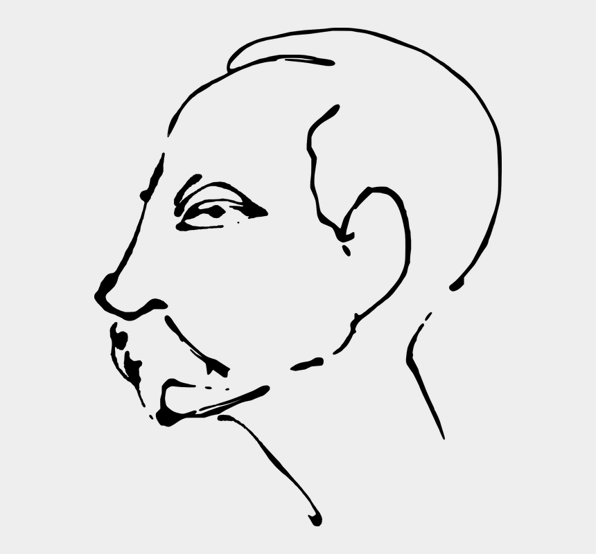 side profile clipart, Cartoons - Man Profile Human Face Head Moustache - Jose Marti Clipart