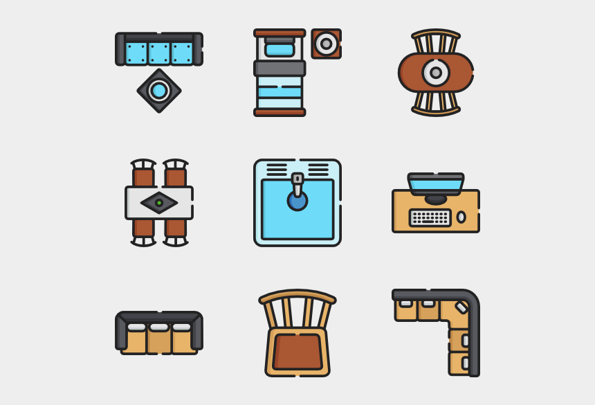 top view furniture clipart, Cartoons - Top View Furnitures Clipart
