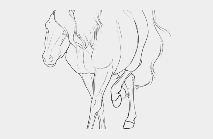 knight on horse clipart black and white, Cartoons - Drawn Knight Horse Side View - Line Art