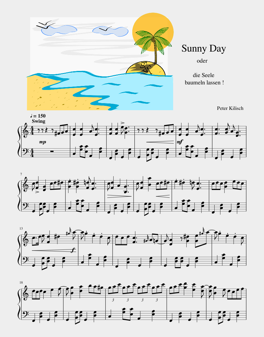 sunny day background clipart, Cartoons - Sunny Day Png - Cartoon Island With Palm Tree